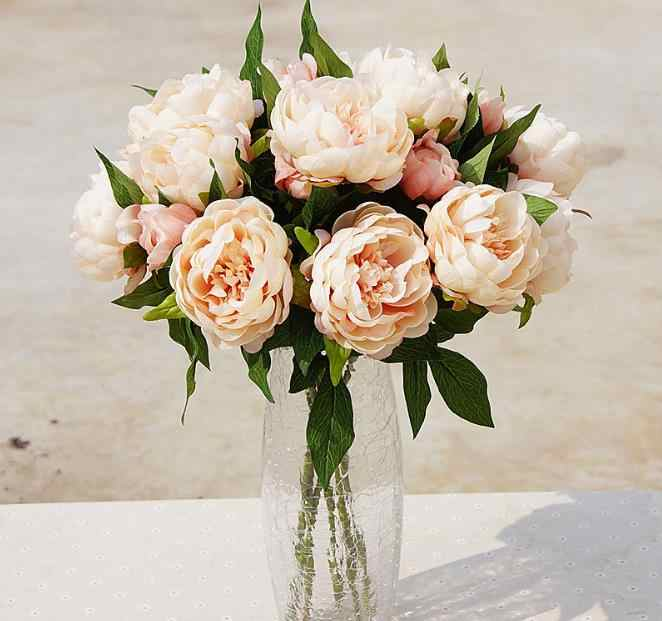High quality artificial flowers peony 3 Heads silk flowers home decoration wedding flowers Free Shipping
