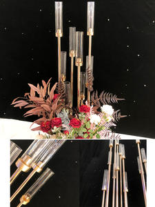Vases Candle-Holders Flowers Metal-Stand Road-Lead-Table Centerpiece Gold Wedding-Candelabra