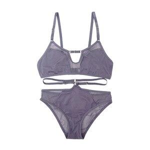 Image 5 - Soutien gorge Sexy en dentelle pour femmes, sous vêtements français Ultra fin en dentelle, sans fil, sans sommeil, Lingerie, culotte en maille noire et ajourée