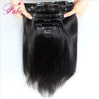 Fabc Hair Brazilian Straight Hair Clip in Human Hair Extensions Natural Color Non Remy Hair Clip in Full Head 10Pcs/Set