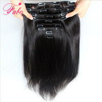 Fabc Hair Brazilian Straight Hair Clip in Human Hair Extensions Natural Color Non Remy Hair Clip in Full Head 10Pcs/Set