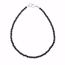 LiiJi Уникальная Застежка из стерлингового серебра 925 пробы, черные шпинели, Приблизительно 2 мм, граненые бусины, Браслет 17-20 см, 6,8 ''-8''