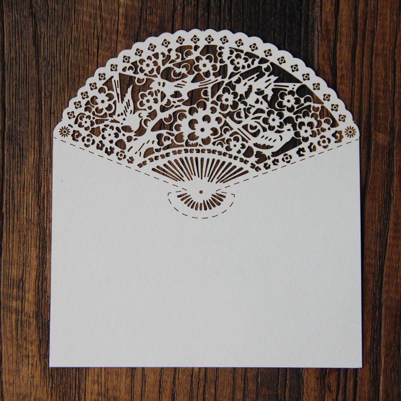 50 Pcs Wholesale Chinese Fan Design Laser Cut Invitation RSVP Card Envelope For Thanks Cards