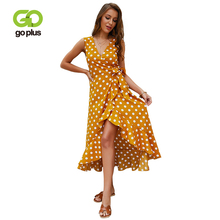 GOPLUS 2019 Polka Dot Chiffon Dress Women Sexy V Neck Sashes Sleeveless Maxi Ladies A-line Elegant Beach Vestidos Female