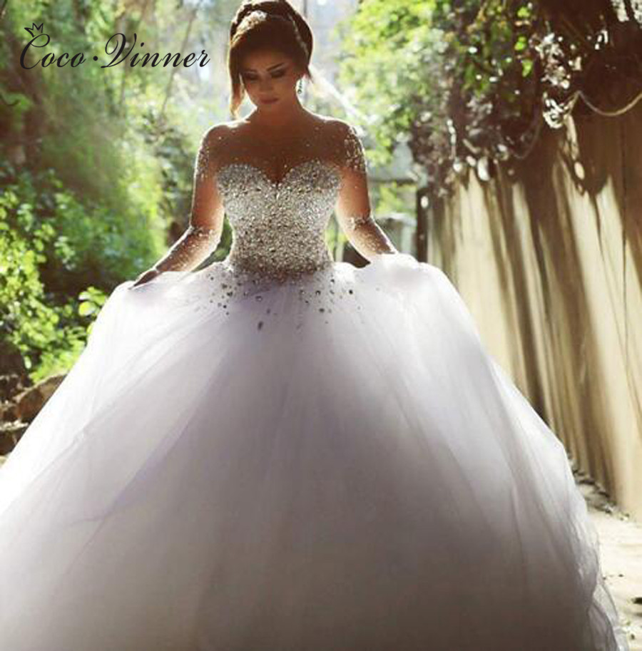 African Style Plus Size Long Sleeve Luxury Crystal Beading Tulle Ball Gown Wedding Dresses Princess Wedding Dress W0395