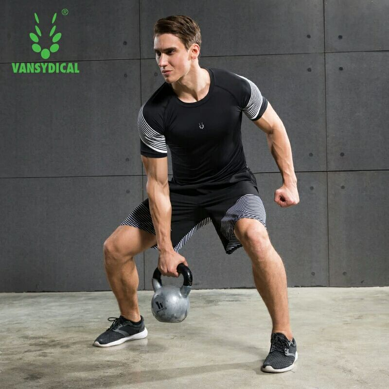Vansydical Summer Jogging Suits Men's Fitness Sport Suits Quick Dry Basketball Running Shirts+Shorts Sets Gym Sportswear 2pcs 4