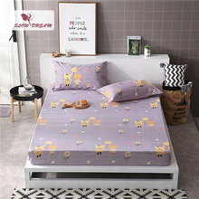 Slowdream 1PCS Fitted Sheet Cartoon Bed Sheets On Elastic Band Rubber Linen Euro Double Single Size Mattress Cover