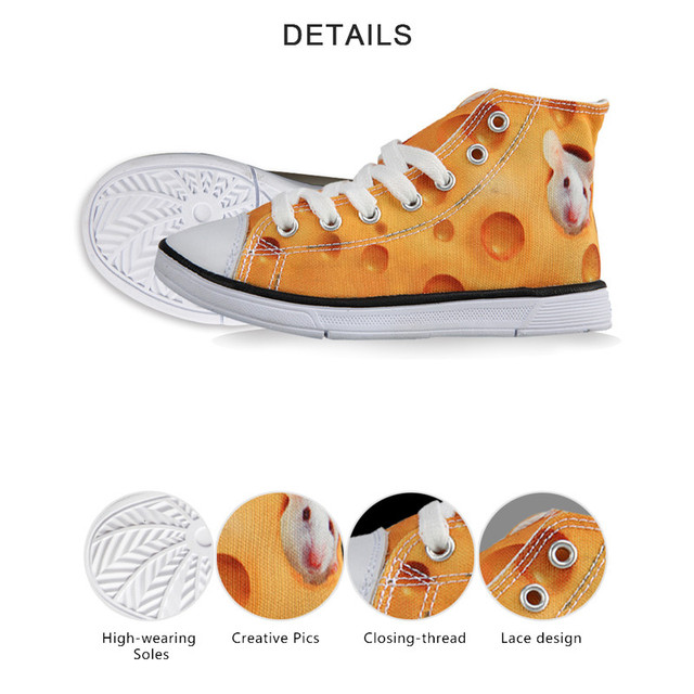 INSTANTARTS Fashion Kid High Top Shoes Vulcanize Casual Canvas Shoe for Boy Girl 3D Dachshund Dog Print Children Lacing Sneakers