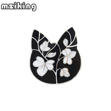 mziking New Black Cat Brooch for Women Flower Brooch Cute Cat Head Enamel Pin Jewelry Clothes Accessories Brooches For Wedding mziking 2019 new gold fish brooch for women crystal brooch simulated pearl animal enamel pin jewelry clothes accessories brosh