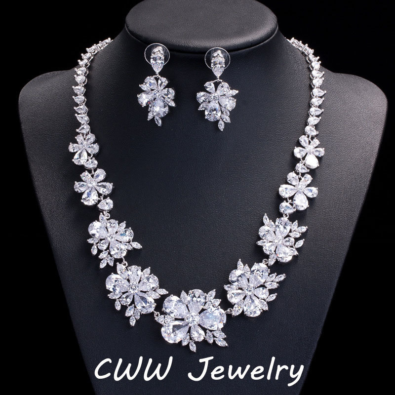 CWWZircons Luxury Bridal Jewelry Sets Sparkling Cubic Zirconia Crystal Wedding Necklace Earrings Accessories For Brides T116