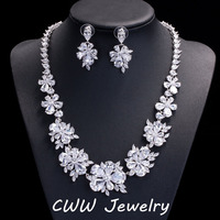 Luxury Bridal CZ Diamond Jewelry Sets AAA Swiss Cubic Zirconia Crystal Wedding Necklace Earrings Accessories For
