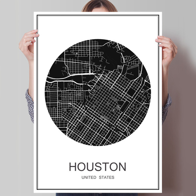 Hot sale houston world city map oil painting travel poster canvas coated paper simple print picture