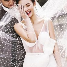 2 Tier Double Layer Women Wedding Veil Five-Pointed Star Polka Dot Print Tulle Retro Bridal Veil Night Party Costume With Comb