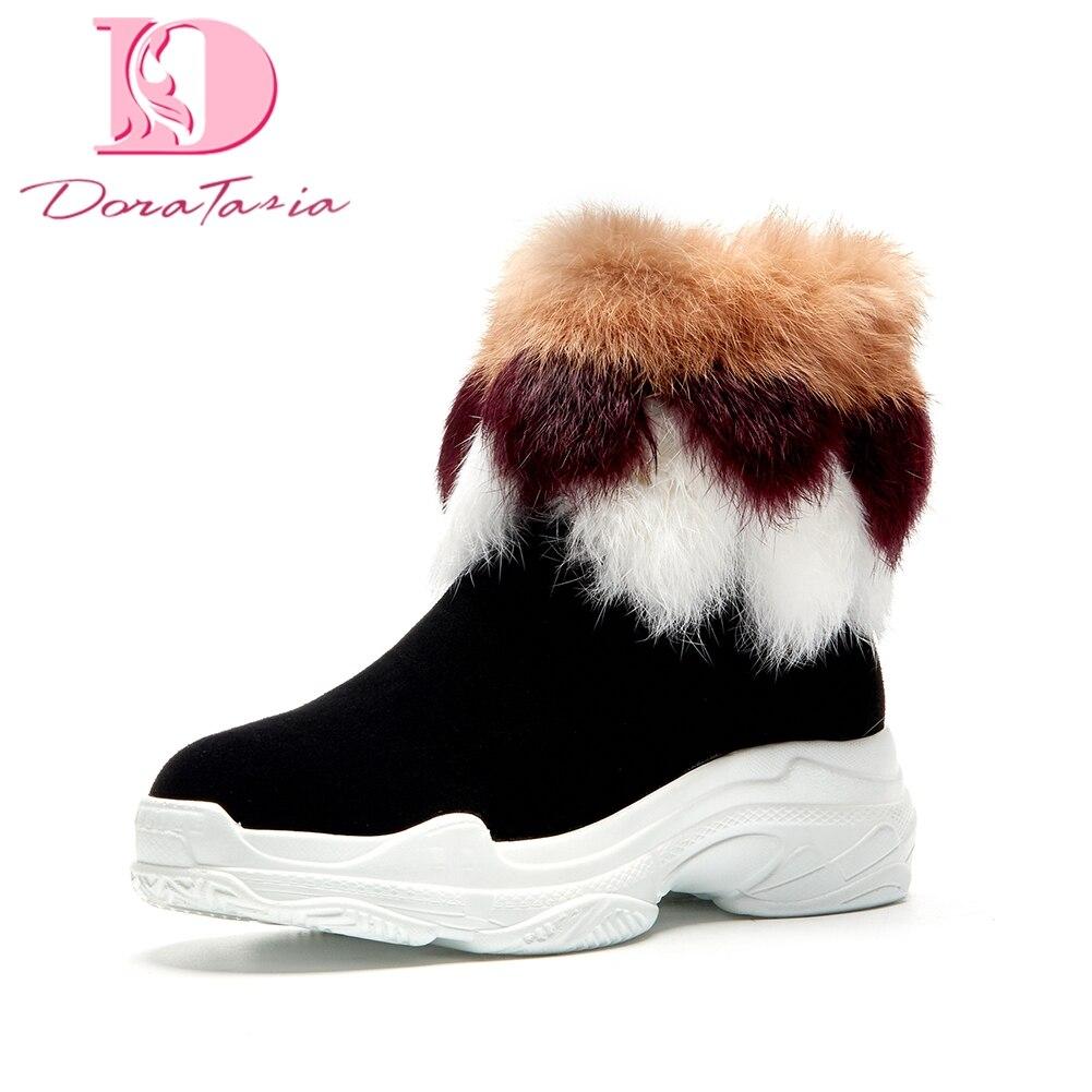 Vaca Negro Calidad Zapatos Alta Dropship Bonitos Doratasia Rusia Caliente Piel De Felpa Botas Marca púrpura Invierno Mantener Mujer Gamuza Nieve wI4UIqnS