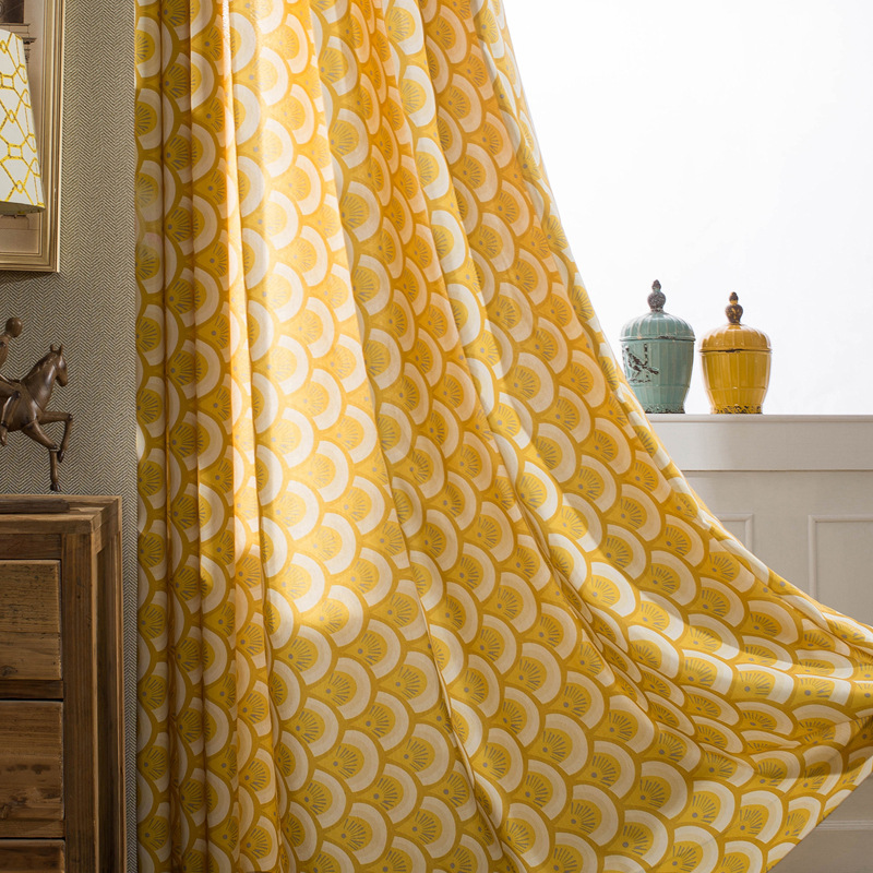 Fish Scale Pattern Yellow Window Curtain For Living Room