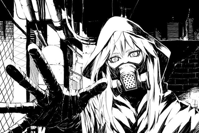 Hitam Putih Monokrom Tagme Anime Gadis Meminta Bantuan Gas Masker KA085 Ruang Tamu Dinding Rumah Modern