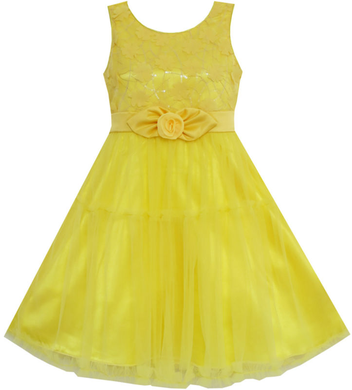 Flower Girl Dress Shinning Sequins Tulle Layers Party Pageant Yellow 2017 Summer Princess Wedding Dresses Clothes