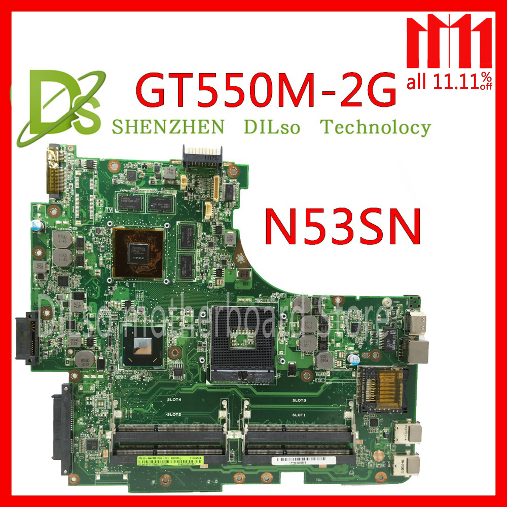 KEFU N53SN mainboard For ASUS N53S N53SV N53SN N53SM laptop motherboard GT550M 2G video memory Test work 100% original laptop motherboard n53sv n53sn for asus n53s n53sn n53sm with geforce gt550m 2g ddr3 4 ram solts rev2 0 2 2 tested ok