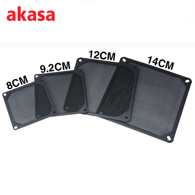 Akasa Black PC CPU Cooling Fan Dustproof Filters Aluminium Grill Mesh 8cm 9.2cm 12cm 14cm Stainless Mesh For PC CASE Fan Cooler metal computer case fan grill 12cm