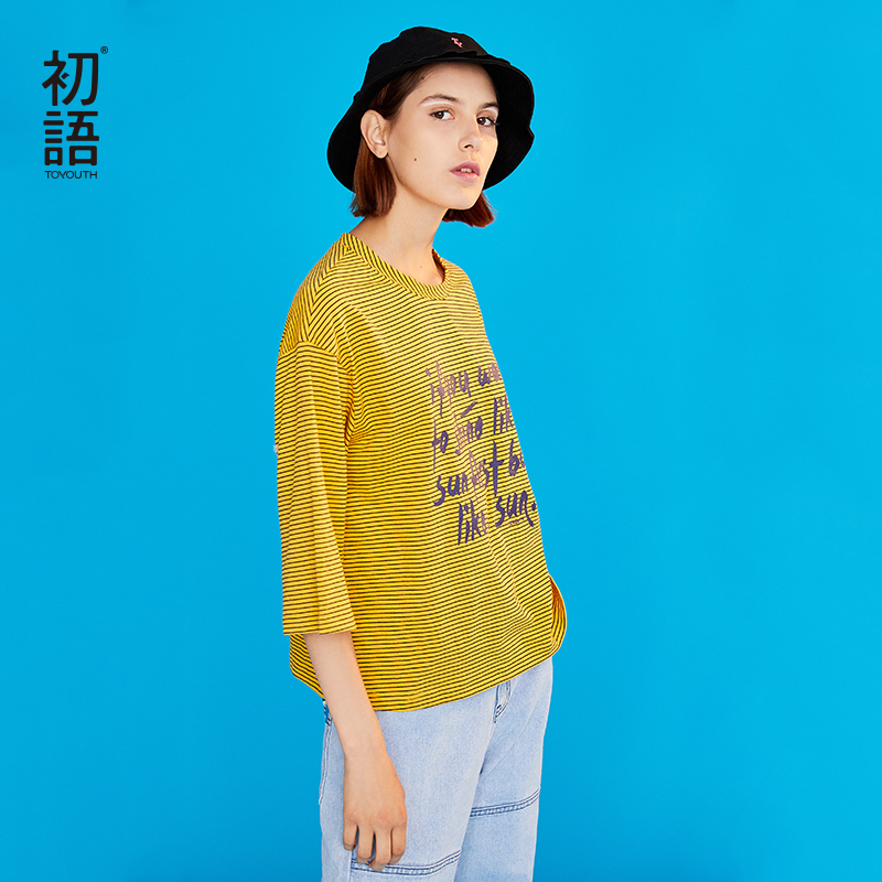 Toyouth Striped Letter Printed Women Summer T-Shirt Fashion Loose Round Neck Shirt Female Three-quarter Sleeve Oversize Shirts
