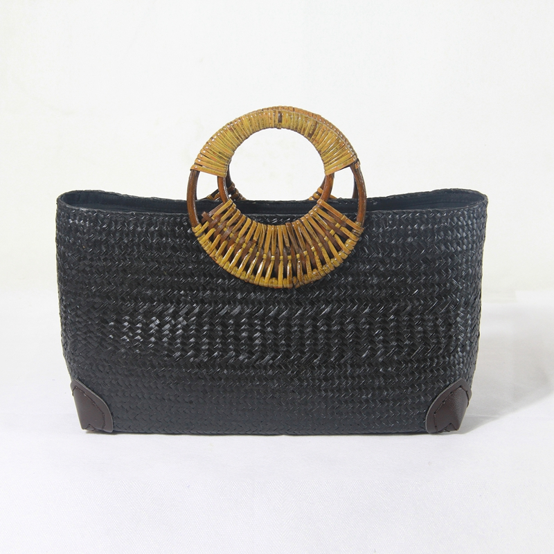 2017 Thai hand-woven bag retro rattan woven bag straw bag round bag round bamboo handle hand female package holiday wind woven bag with double handle