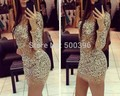 2017 New Hot Sale Sheath Party Dress High Neck Nude Tulle Long Sleeves Mini Short Sparkly Sequins Sexy Cocktail Dresses vestidos