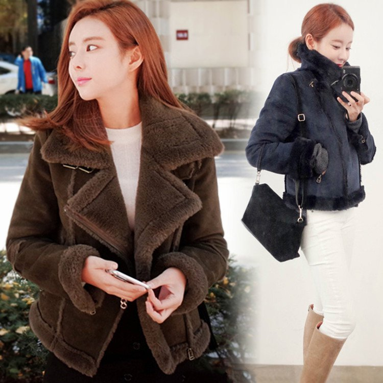 Biker Jacket Fur Coat Lapel Short Winter Jacket Women Woolen Coat Coats Female yves salomon fur jacket