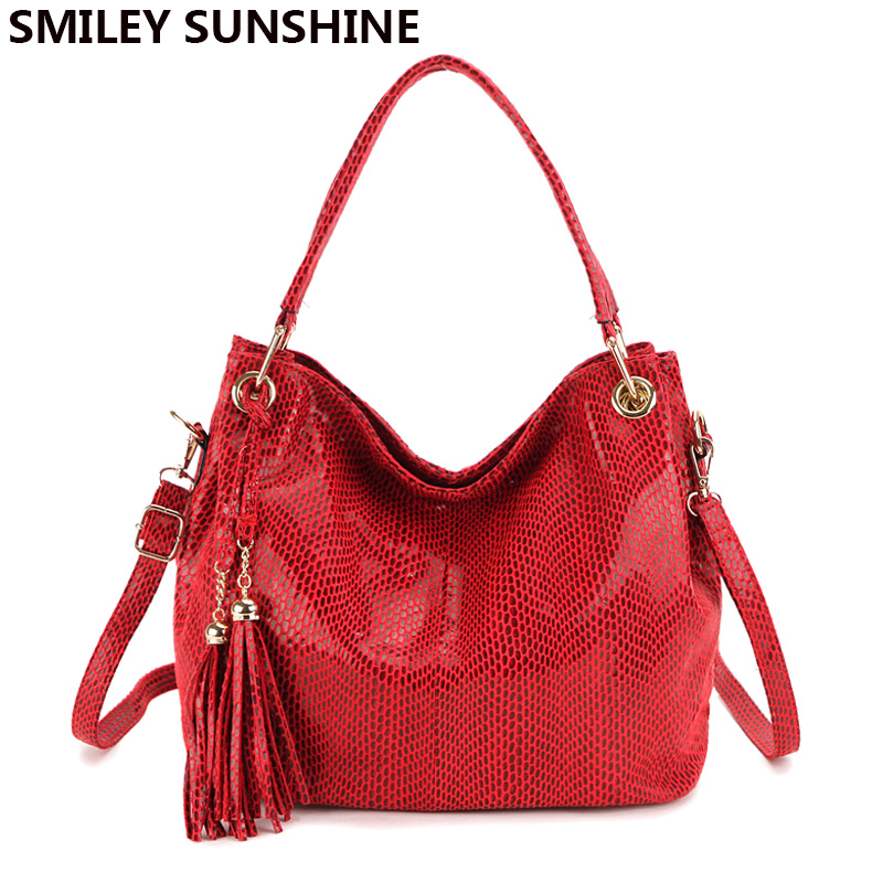 SMILEY SUNSHINE Tassel Women Bags Hobo Female Red Leather Handbags Purses Ladies Shoulder bags Big Crossbody Bags for Women 2018 new vintage pu washable leather tote hobo bags for women designer shoulder handbags ladies large bag 2017 big hobo sling purses