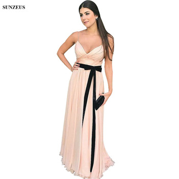 Pink Champagne Chiffon Bridesmaid Dresses With Black Sash A-line Spaghetti Straps Summer Wedding Party Gowns For Girl BDS059 фото