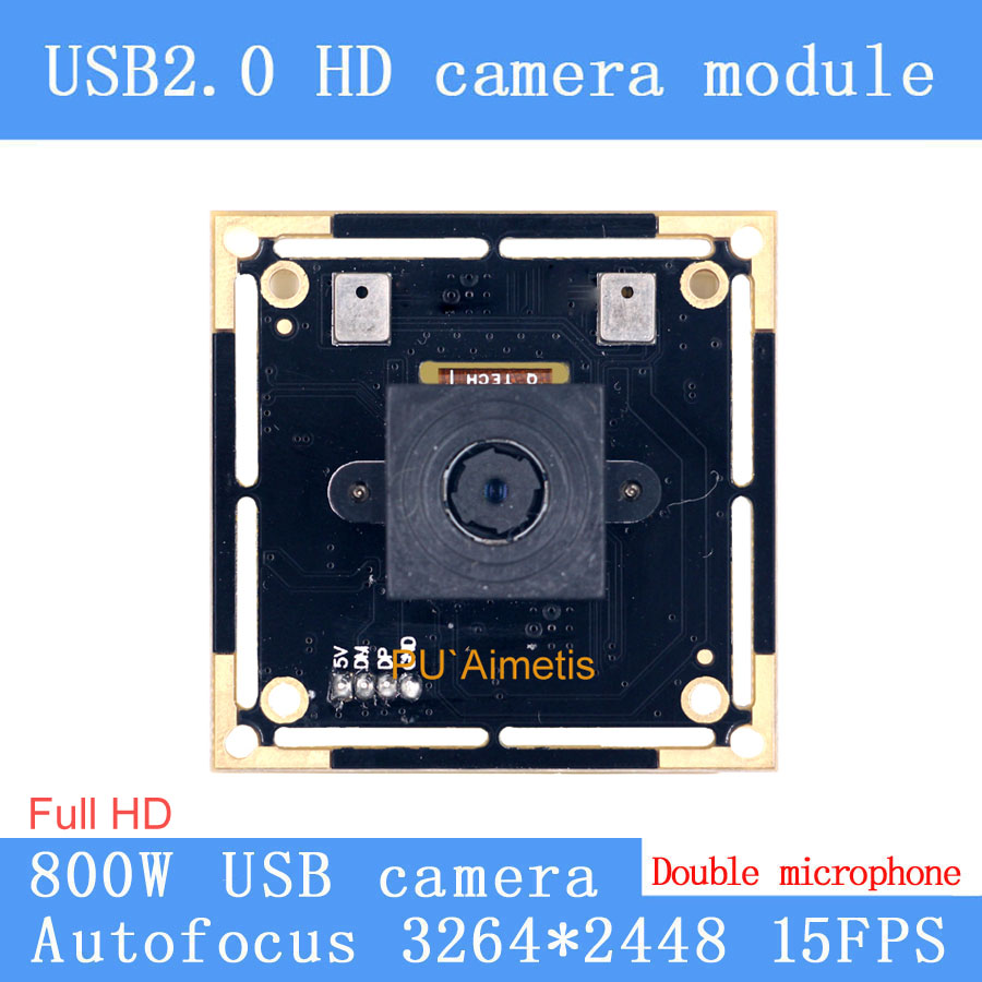 USB2 0 Mini Camera 800W SONY IMX179 AF Autofocus 15FPS MJPEG USB camera module double support audio Webcam UVC in Surveillance Cameras from Security Protection
