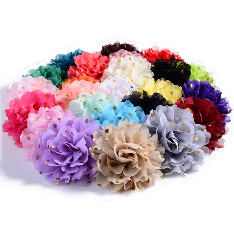 30PCS 10cm 24colors Big Chiffon Headband Flower Hair Clips Hairpins Fabric Flowers With Gold Dot For Girls Hair Accessories