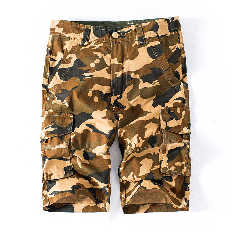 MORUANCLE Mens Casual Camouflge Cargo Shorts Multi Pockets Military Style Straight Camo Short Joggers 100% Cotton Big Size 29-42
