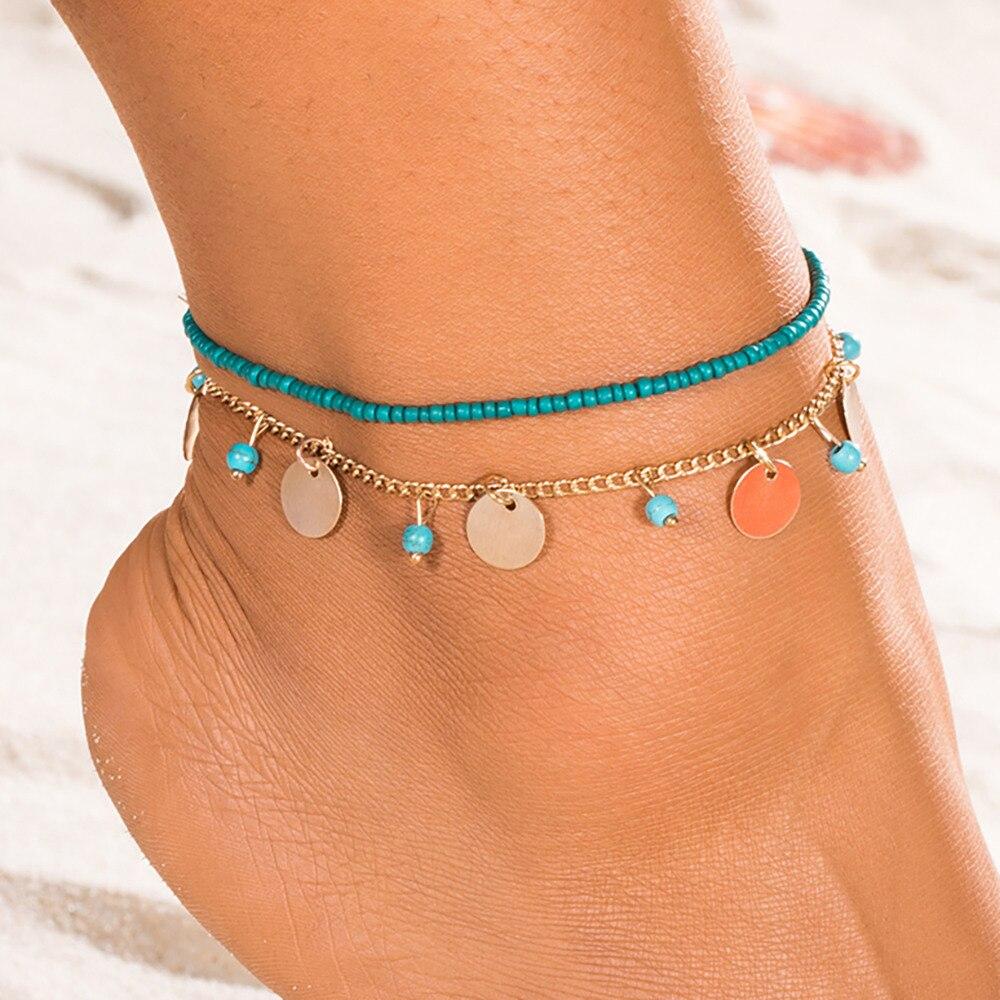 Vintage Handmade Beads Ankle Bracelets for Women Bohemia Leg Chain Round Tassel Anklet Summer Beach Accessories DIY Foot Jewelry
