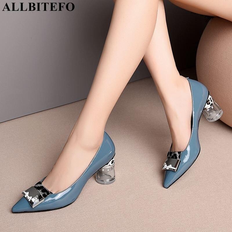 ALLBITEFO mode sexy talons hauts chaussures pour femmes en cuir véritable pleine cristal talon bureau chaussures dames printemps chaussures de soirée femme