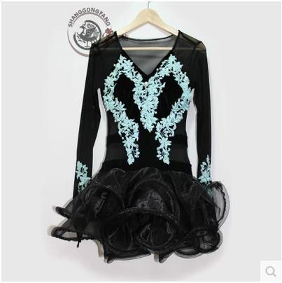 New style Latin dance costume gauze long sleeves latin dance competition dresses for women child latin dance dresses S-4XL rumbelow s dance