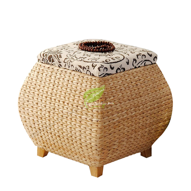 Awesome Us 47 07 38 Off Antique Rattan Shoes Storage Stool Solid Wood Frame Box Clothes Footstool Sofa Square Stool Living Room Furniture Home Ottoman In Uwap Interior Chair Design Uwaporg
