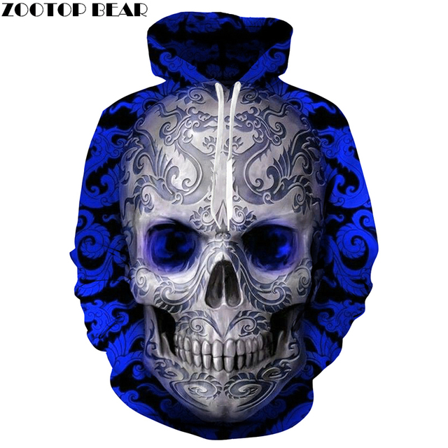 Hot Sale Blue Skull 3D Hoodie Fashion Sweatshirt Men Women Skull Hoody Drop Ship Tracksuit Brand Hooded Jacket 6XL Streetwear