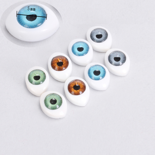New Arrvial 8pcs Vivid Oval Hollow Back Safety Plastic Eyes For Toys Dolls Mask DIY 5mm Dolls Accessories Making Craft Eye Ball
