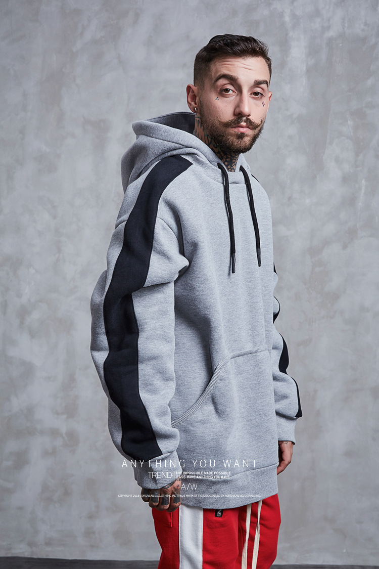 Aolamegs Hoodies Men Side Striped Hood High Street Pullover Cotton Fashion Hip Hop Streetwear Casual Big Pocket Hoodie Autumn (25)
