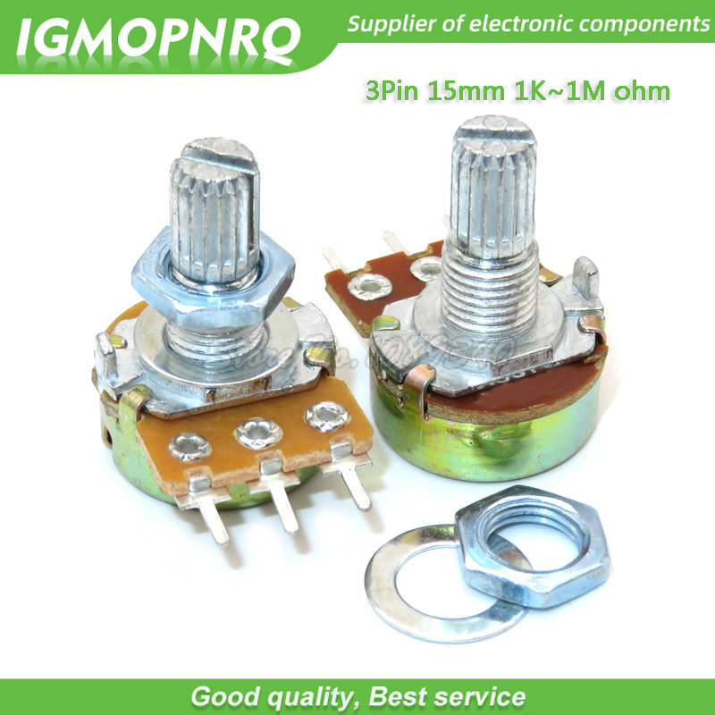 200pcs WH148 3pin 15MM B1K B2K B5K B10K B20K B50K B100K B250K B500K B1M Potentiometer 15mm