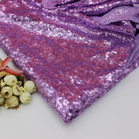 High Quality Sequined Embroidery Lace Fabric Heavy Allover Sequin Cloth Violet 132cm