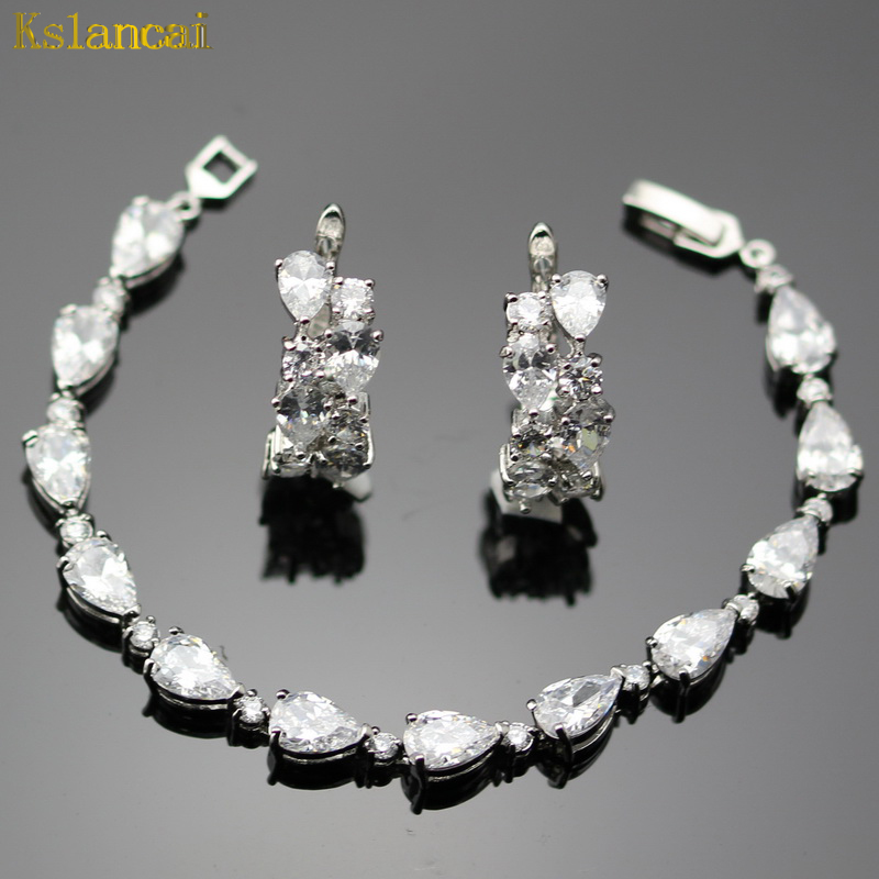 Lan Classic Jewelry Silver Planted Water Shaped Drop White AAA Zircon Earrings/Bracelets For Women Free Shipping Jewelry Sets