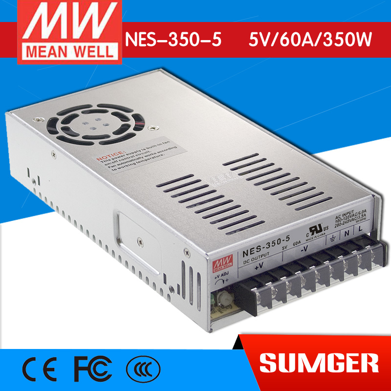 [Only on 11.11] MEAN WELL original NES-350-5 5V 60A meanwell NES-350 5V 300W Single Output Switching Power Supply original meanwell nes 350 24 ac to dc single output 350w 14 6a 24v mean well power supply nes 350