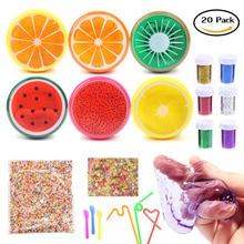 Magic Crystal Slime Kitty Toy Soft Rubber Fruit Slime und Glitter für Kinder, Studenten, Geburtstag, Party - 20 Pack mit Schaumbällen