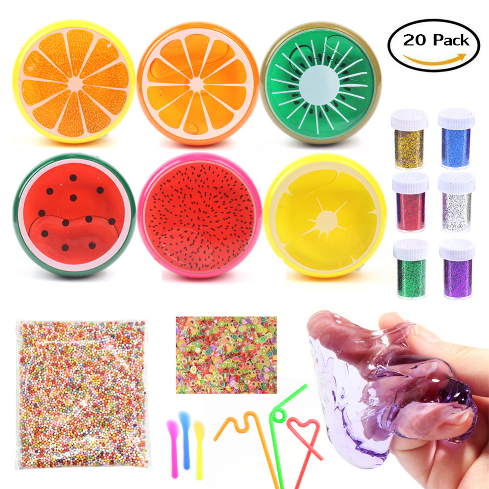 Magic Crystal Slime Putty Toy Soft Rubber Fruit Slime and Glitter for Kids, Students,Birthday,Party - 20 Pack with Foam balls
