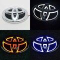 1 * Etiqueta Engomada Del Coche A Prueba de agua 5D Xenon Blanco/Rojo/Azul LED de luz Fría EL Trasero logotipo de la insignia Emblema lámpara para Toyota Yaris/Camry/Hiace