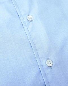 Image 2 - חדש שהגיע 100% כותנה צווארון עם שרוול לחצן פראק כחול ושני קפל בגב camisa masculina