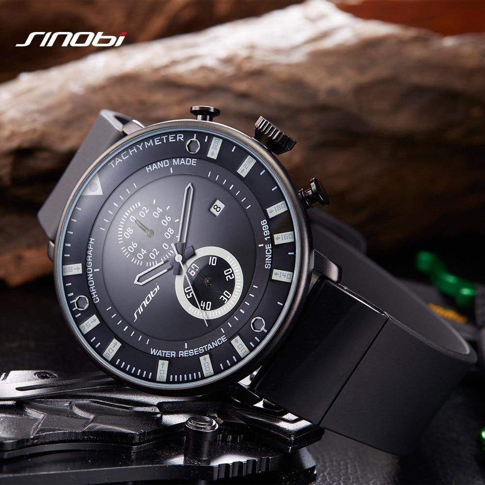 SINOBI Sport Ultra Thin Chronograph Mens Wrist Watches Rubber Watchband Brand Males Military 2018 Star Wars Geneva Quartz Clock электрокотел savitr star ultra 21квт 380в