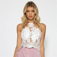 Bandage Elegant Silver Lace Crop Top Summer Beach Backless Short Halter Tops Sexy White Party Camis