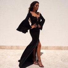 Saudi Arabia 2017 Black Long Mermaid Prom Dresses Full Sleeves Lace Slit Formal Women Evening Gown Dress Vestido De Festa